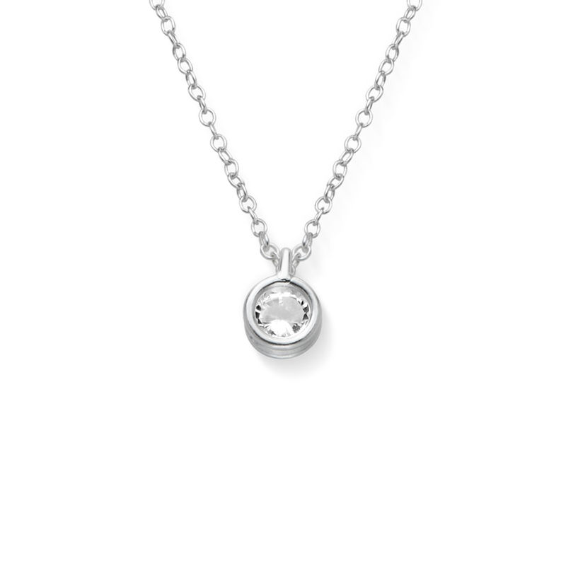 Cubic Zirconia Solitaire Necklace in Sterling Silver