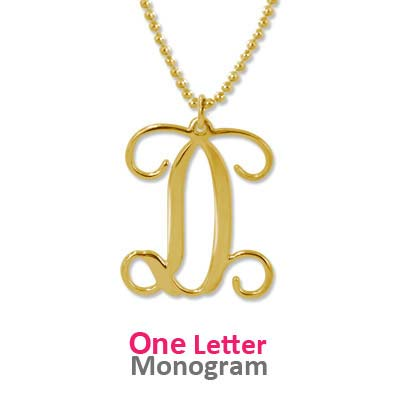 18k Gold Plated Monogrammed Pendant - 1