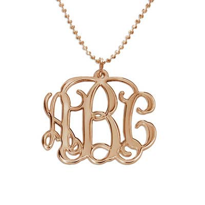 18k Rose Gold Plated 3 Initial Monogram Necklace