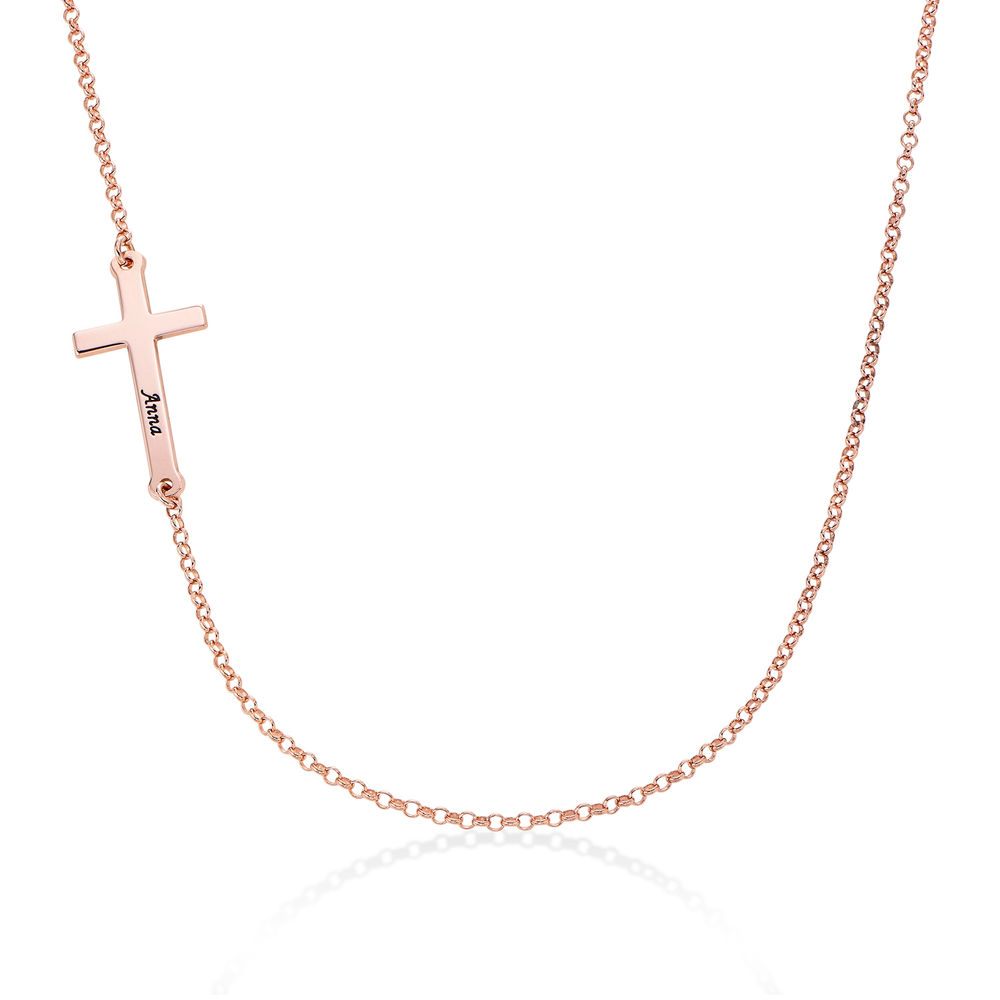 Side Cross Engraved Necklace in Rose Gold Plated