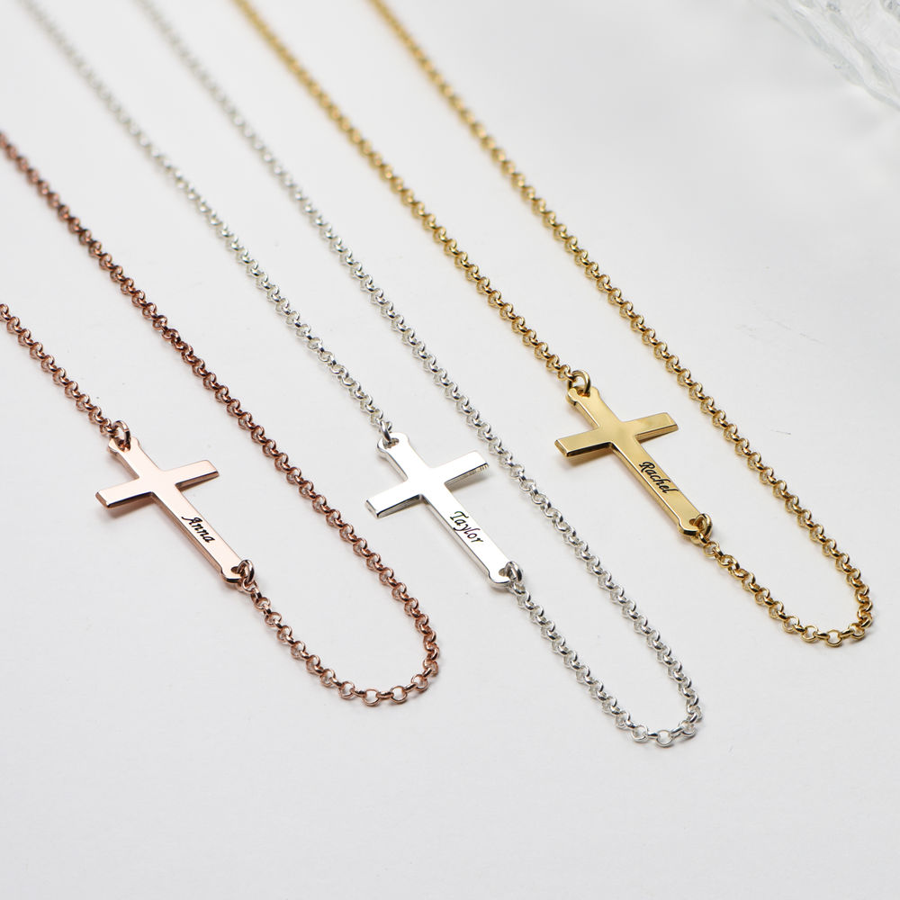 Side Cross Engraved Necklace in Rose Gold Plated  - 1