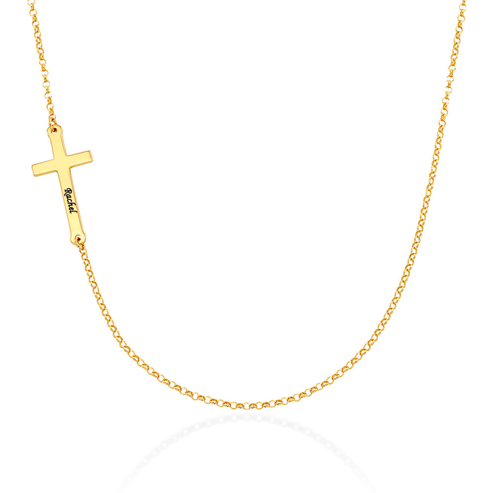 Side Cross Engraved Necklace in Gold Vermeil