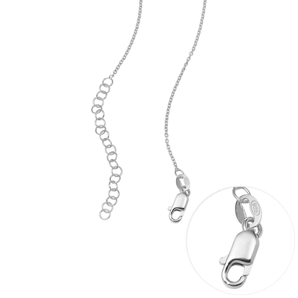 Heart Family Tree Necklace with Birthstones in Sterling Silver - 6