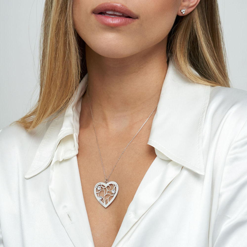Heart Family Tree Necklace with Birthstones in White Gold 10k - 2