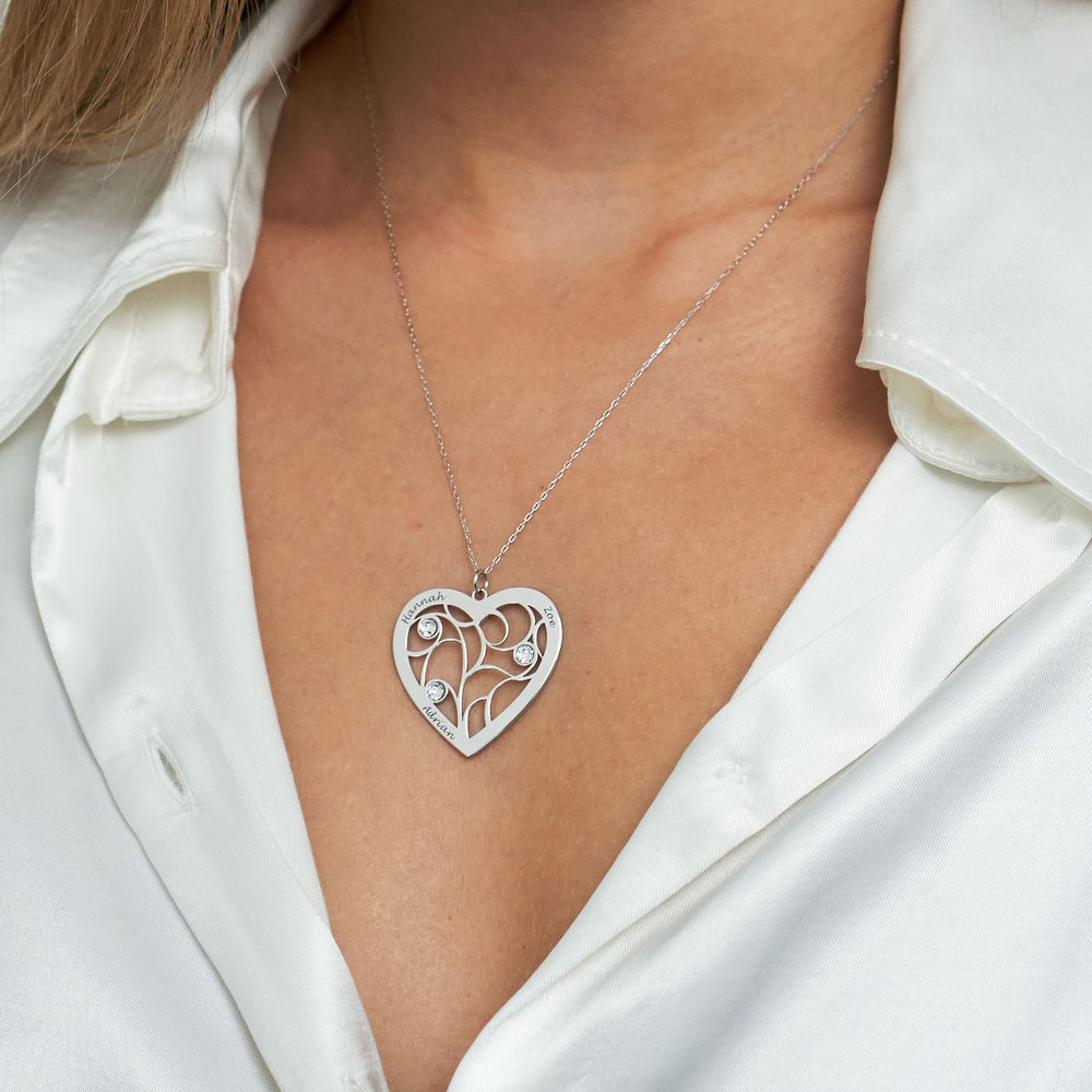 Heart Family Tree Necklace with Birthstones in White Gold 10k - 3