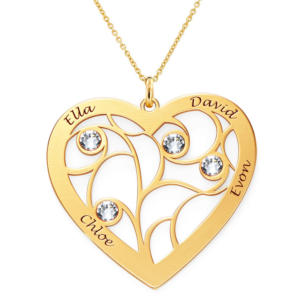 Heart Family Tree Necklace with Birthstones in Gold Vermeil