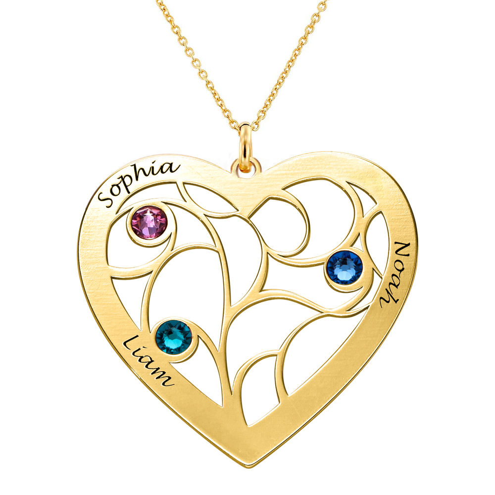 Heart Family Tree Necklace with Birthstones in Gold Vermeil - 1