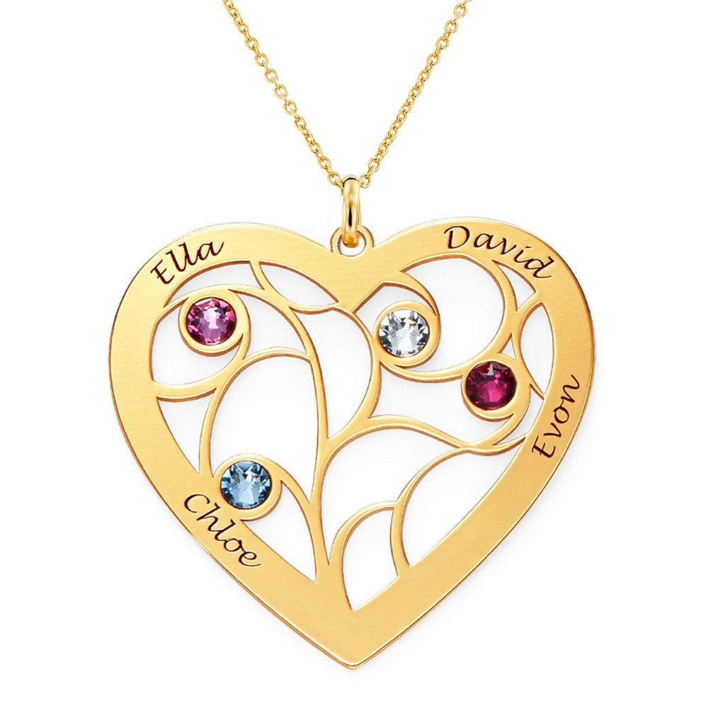 Heart Family Tree Necklace with Birthstones in Gold Vermeil - 2