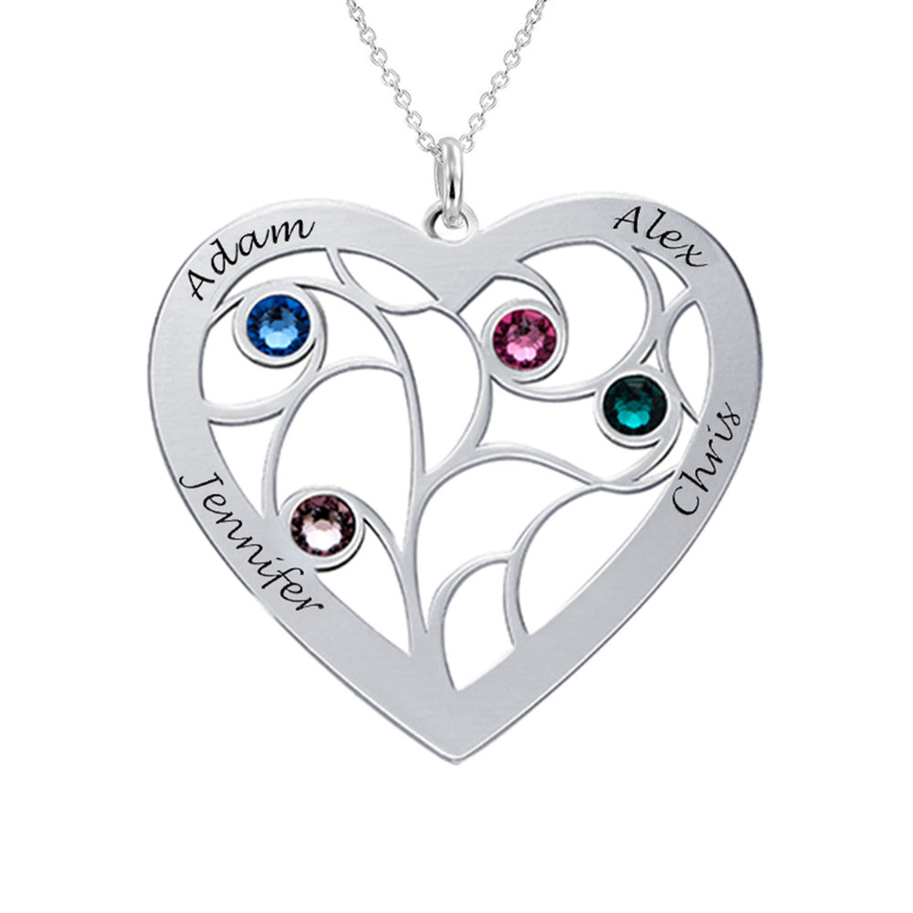 Heart Family Tree Necklace with Birthstones in 940 Premium Silver