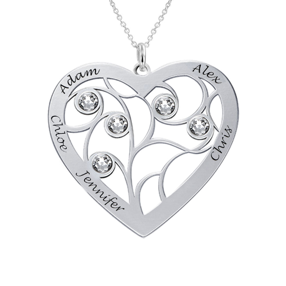 Heart Family Tree Necklace with Birthstones in 940 Premium Silver - 1