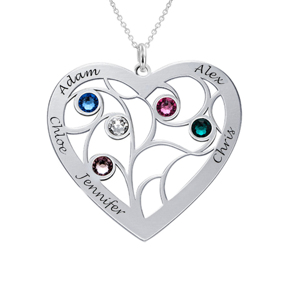 Heart Family Tree Necklace with Birthstones in 940 Premium Silver - 2