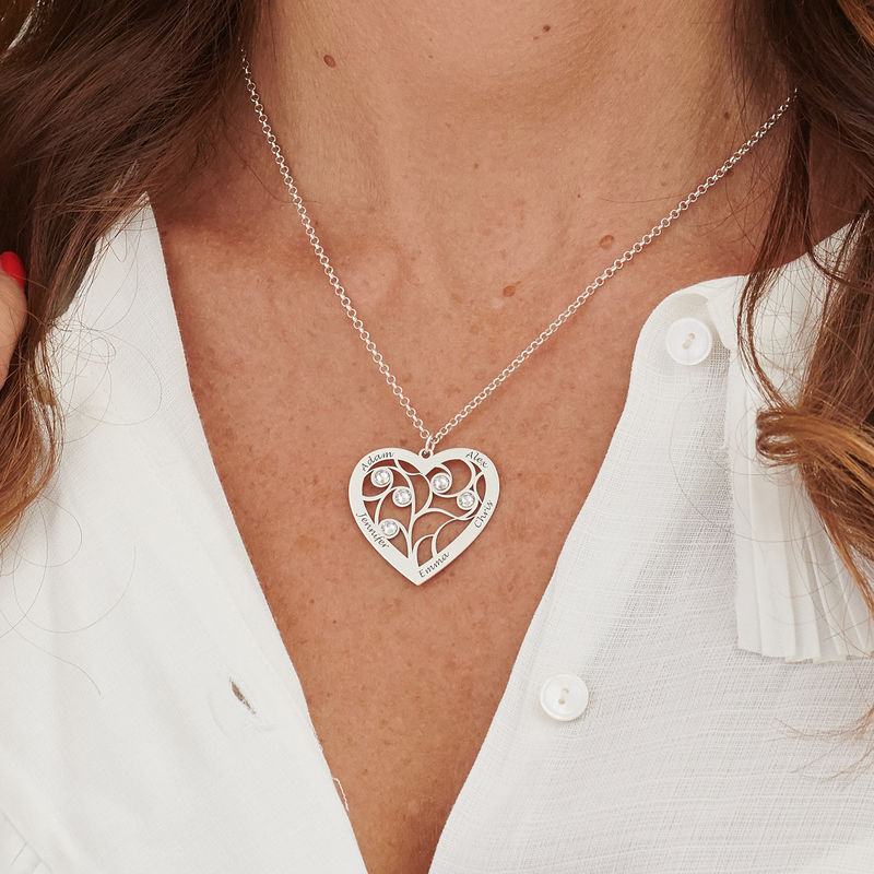 Heart Family Tree Necklace with Diamonds in Sterling Silver - 4