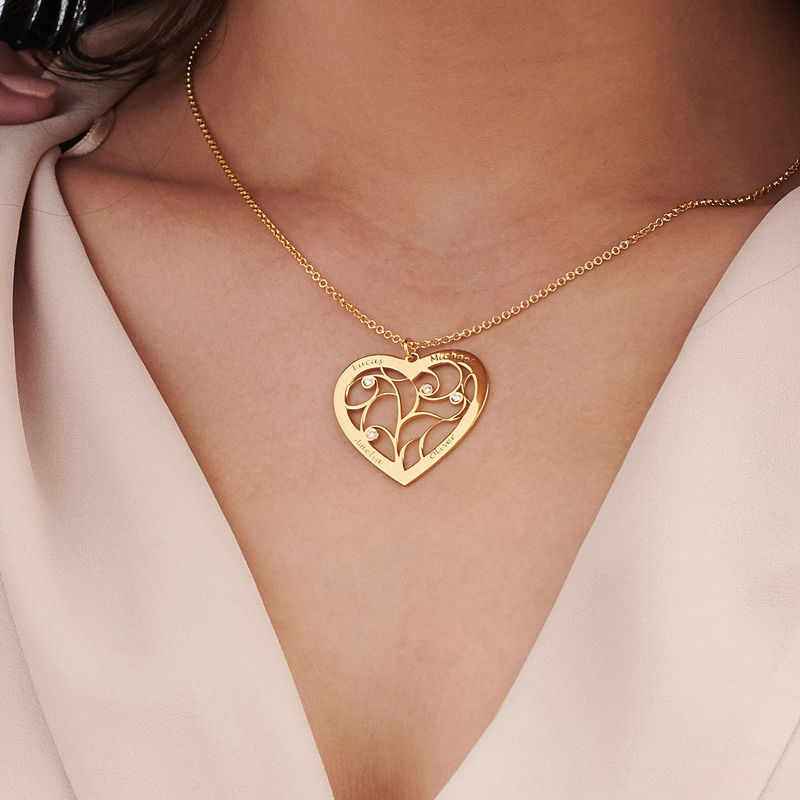 Heart Family Tree Necklace with Diamonds in Gold Plating - 2