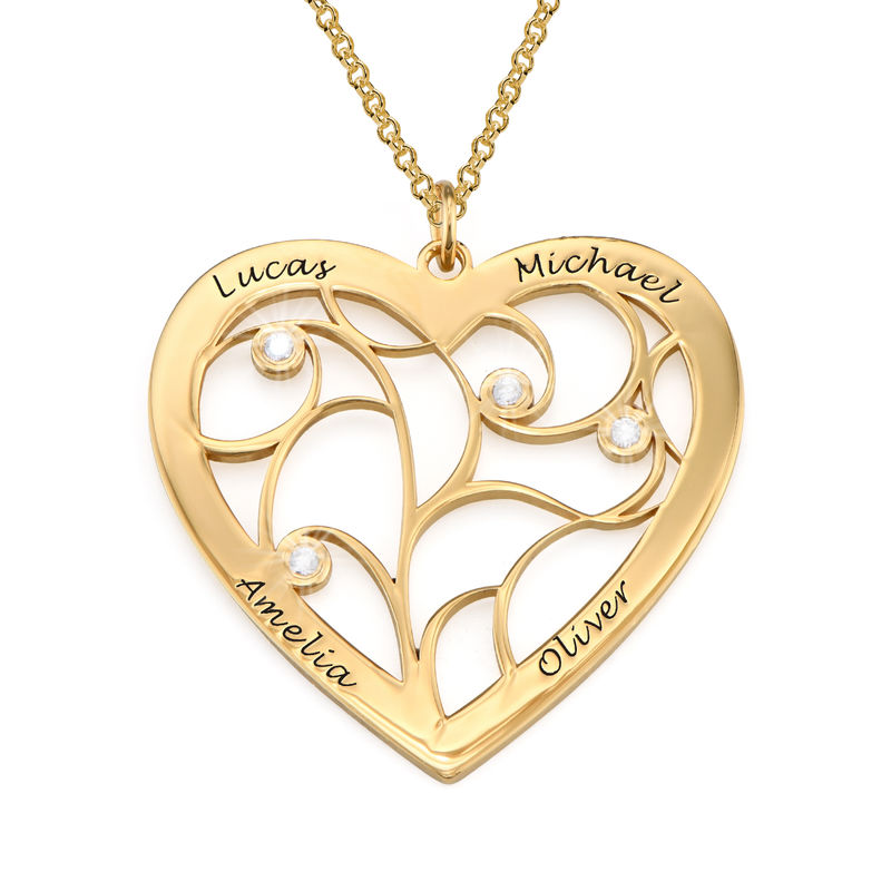 Heart Family Tree Necklace with Diamonds in Gold Vermeil