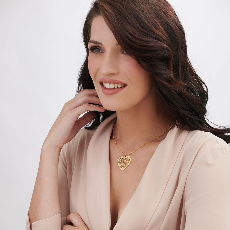 Heart Family Tree Necklace with Diamonds in Gold Vermeil - 1