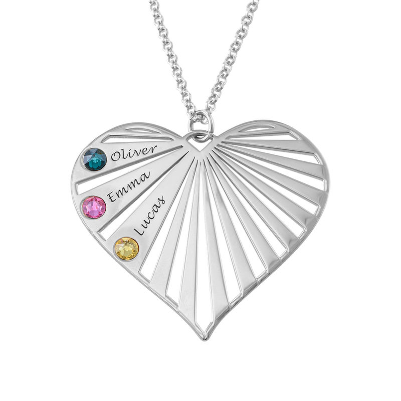 Family Necklace with Birthstones in Sterling Silver - 2