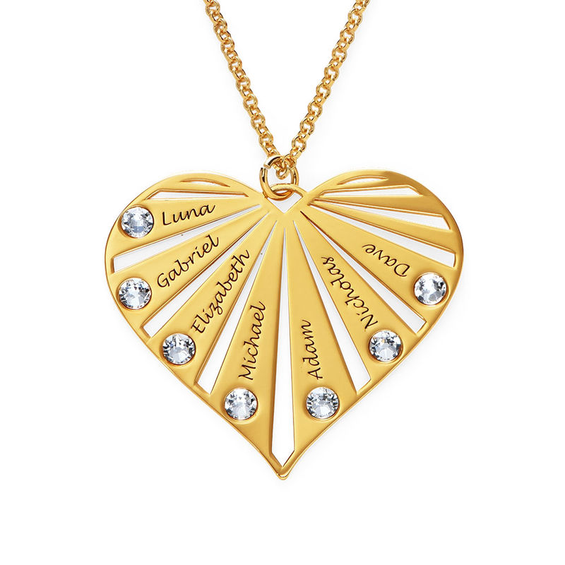 Family Necklace with birthstones in Gold Plating - 1