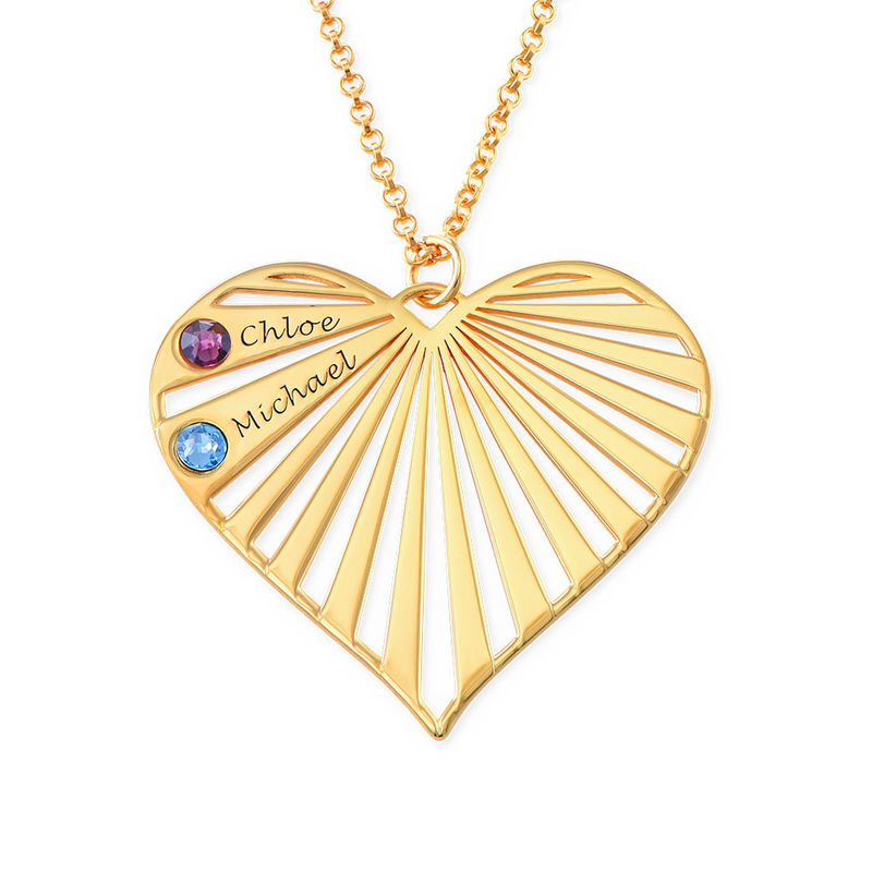 Family Necklace with Birthstones in Gold Plating - 2