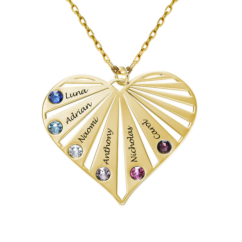 Family Necklace with Birthstones in 10k yellow Gold