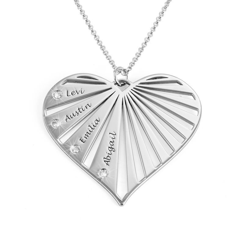 Family Necklace with Diamonds in Sterling Silver