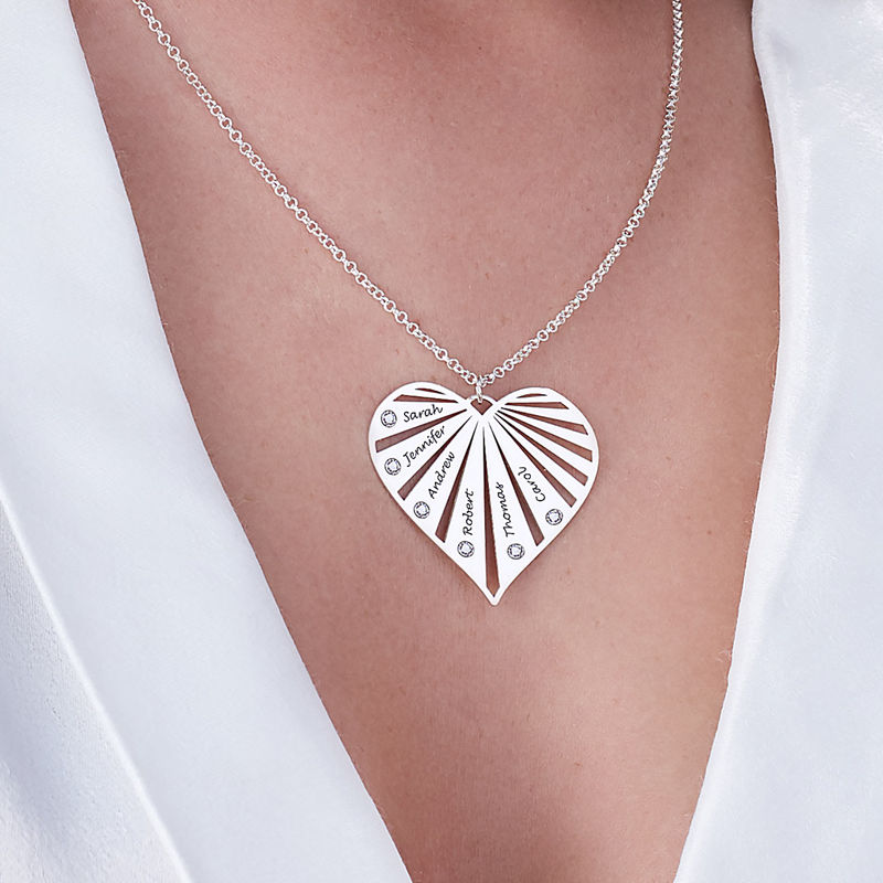 Family Necklace with Diamonds in Sterling Silver - 4