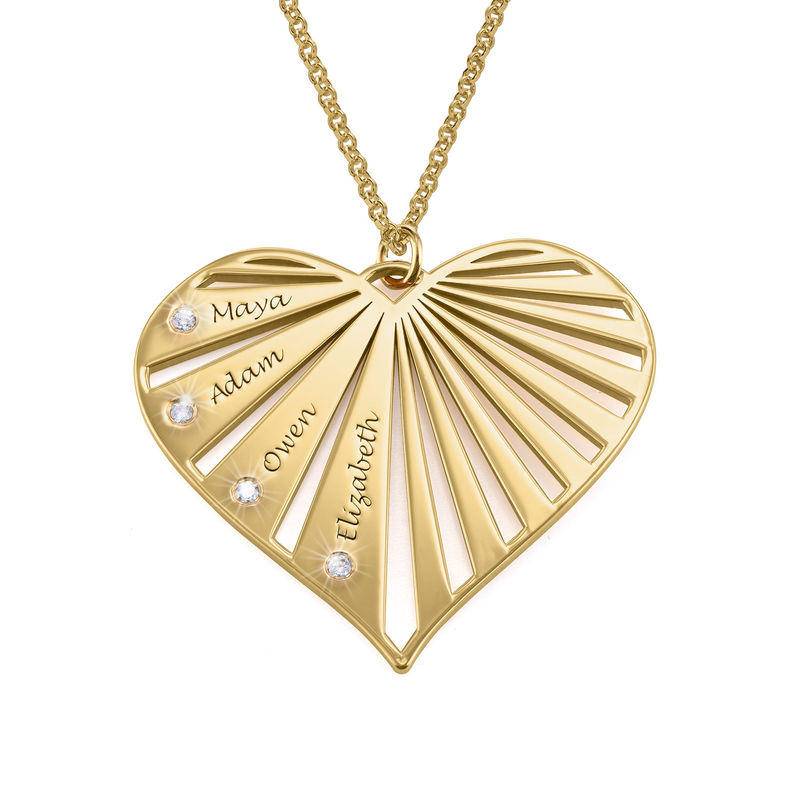Family Necklace with Diamonds in Gold Plating