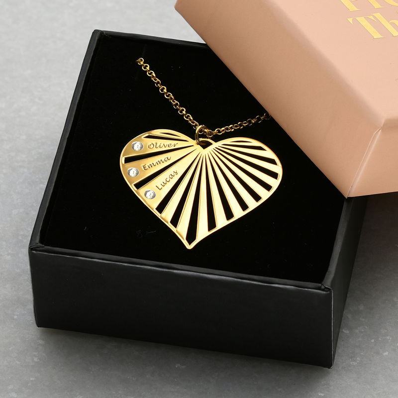 Family Necklace with Diamonds in Gold Plating - 4
