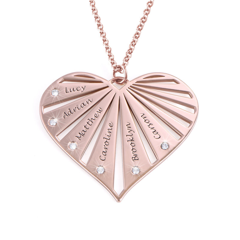 Family Necklace with Diamonds in Rose Gold Plating