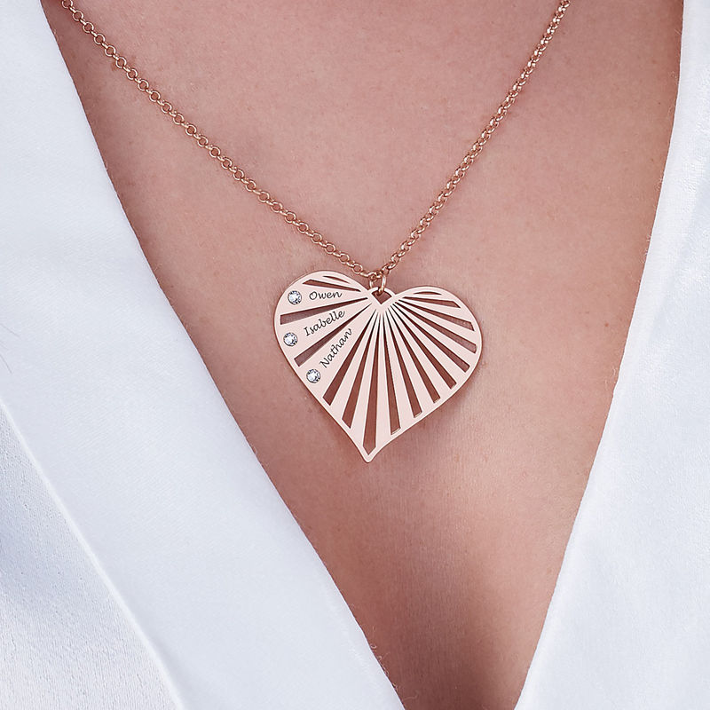 Family Necklace with Diamonds in Rose Gold Plating - 2