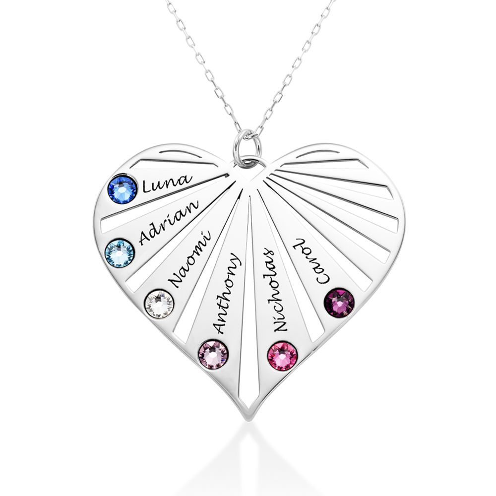 Family Necklace with Birthstones in 10k White Gold