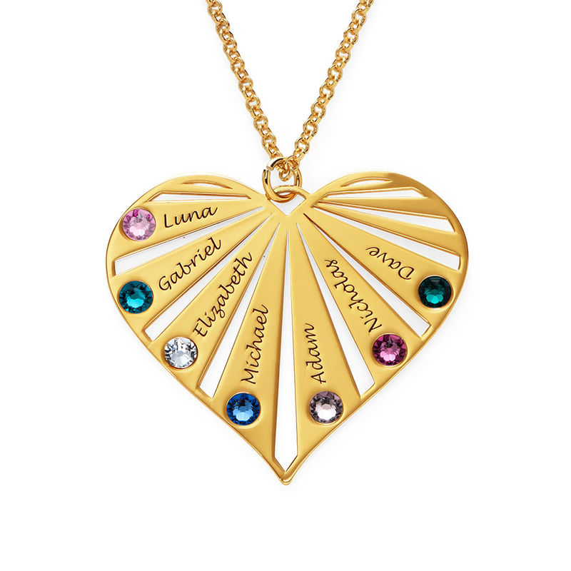 Family Necklace with Birthstones in 18k Gold Vermeil