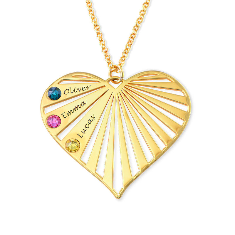 Family Necklace with Birthstones in 18k Gold Vermeil - 3
