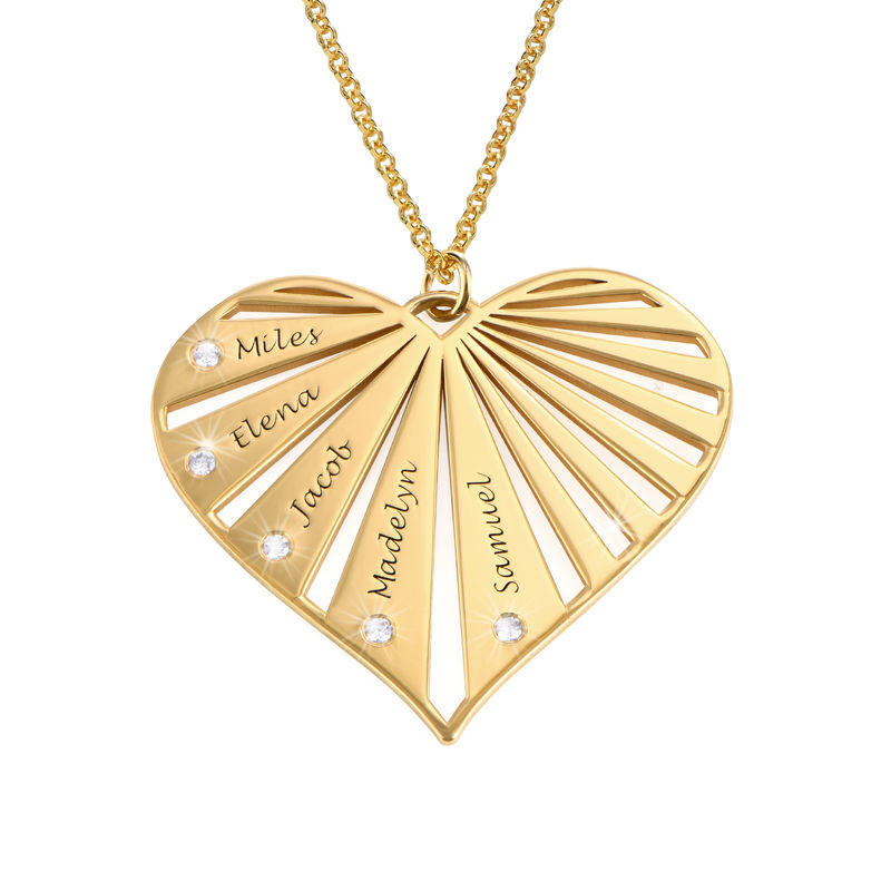 Family Necklace with Diamonds in 18k Gold Vermeil