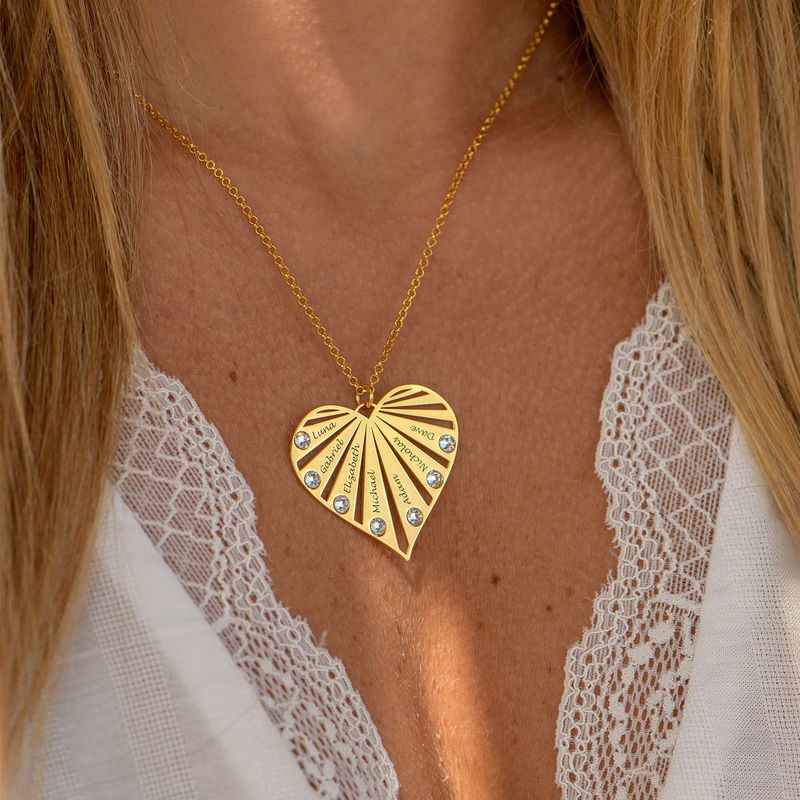 Family Necklace with Diamonds in 18k Gold Vermeil - 2
