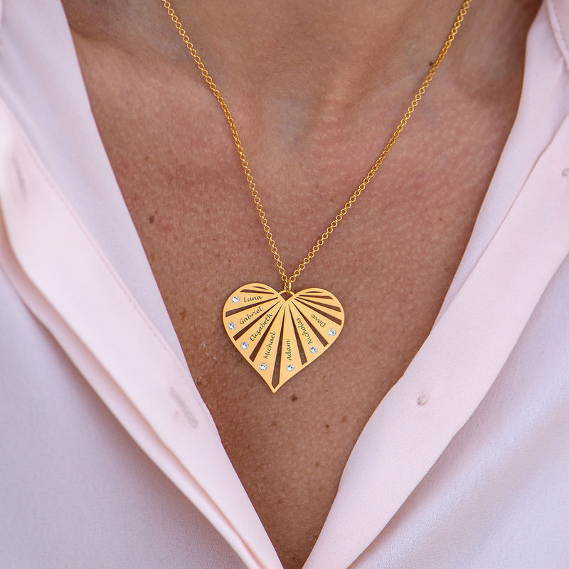 Family Necklace with Diamonds in 18k Gold Vermeil - 3