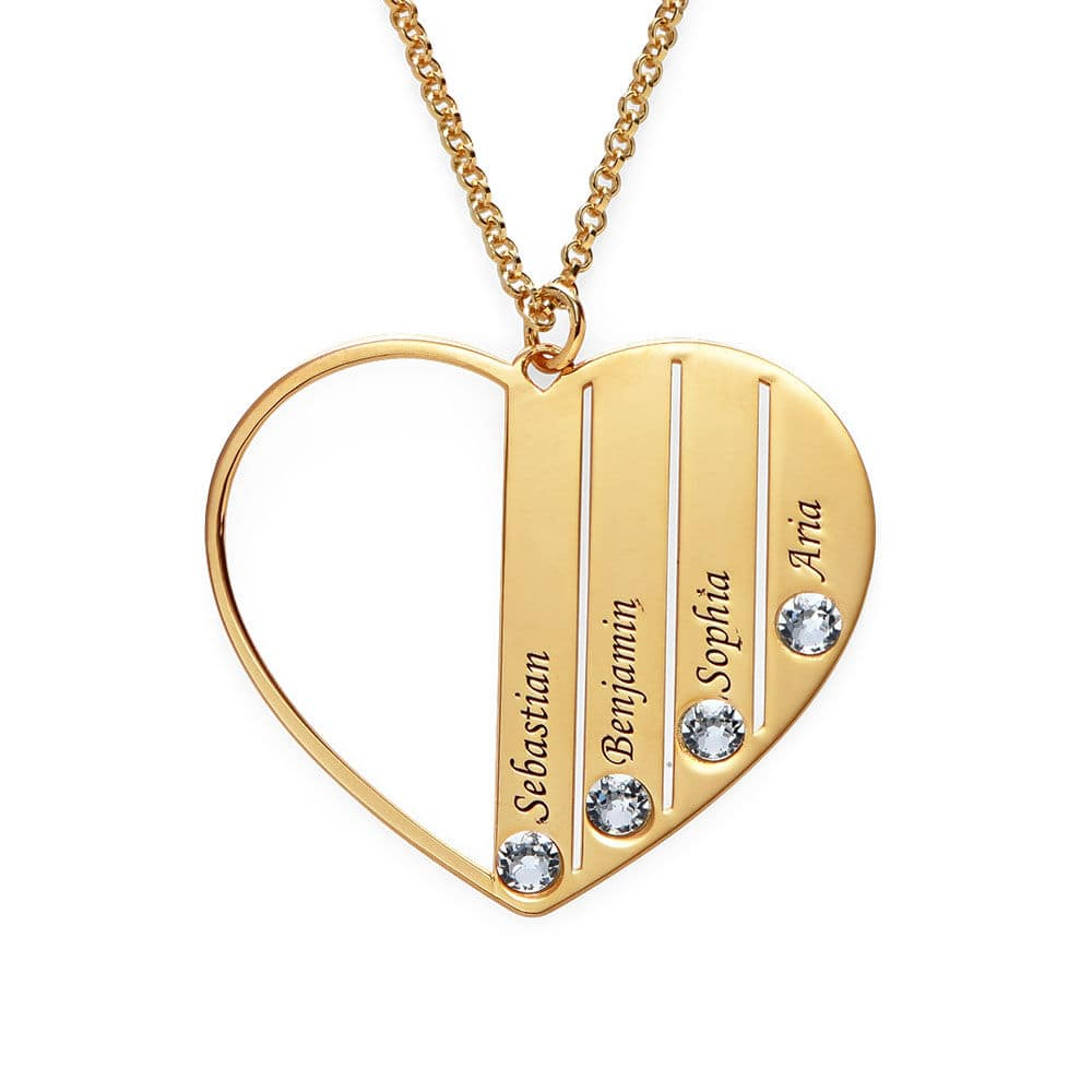 Mom Birthstone Necklace in Gold Plating