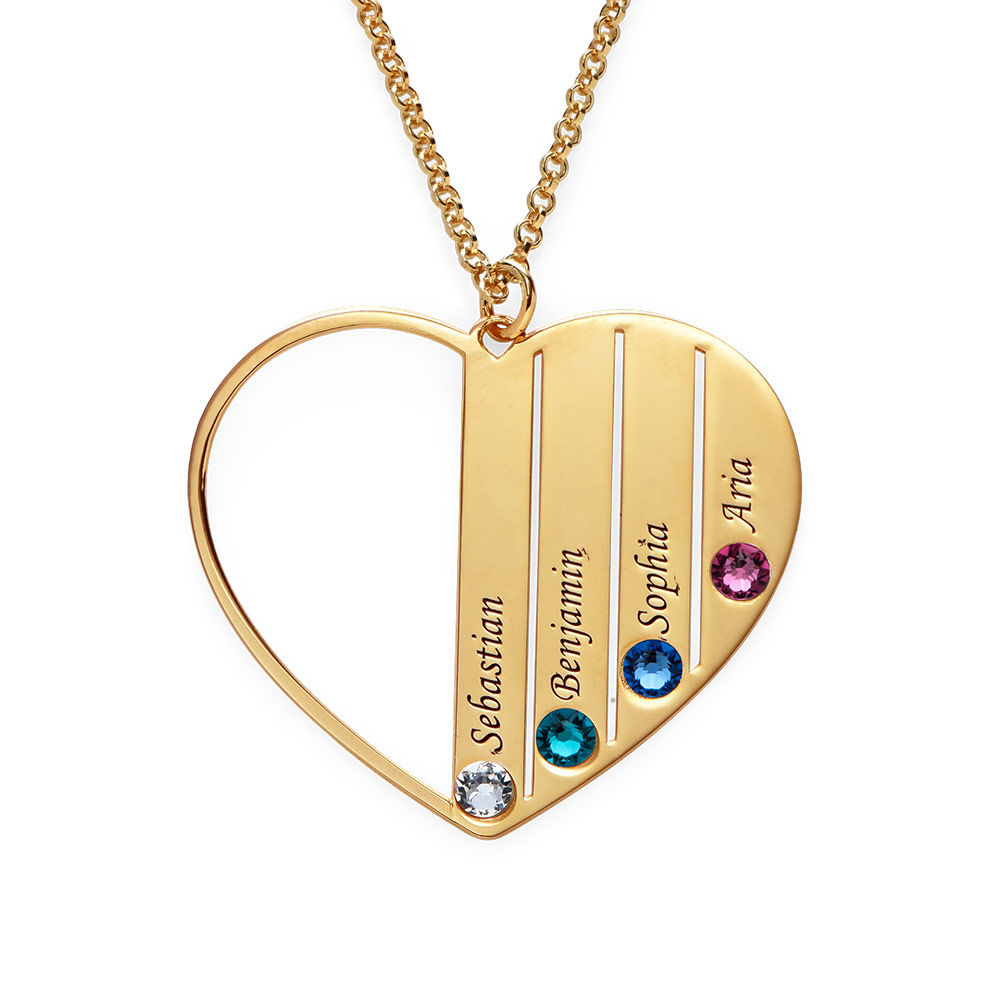 Mom Birthstone necklace in Gold Plating - 1