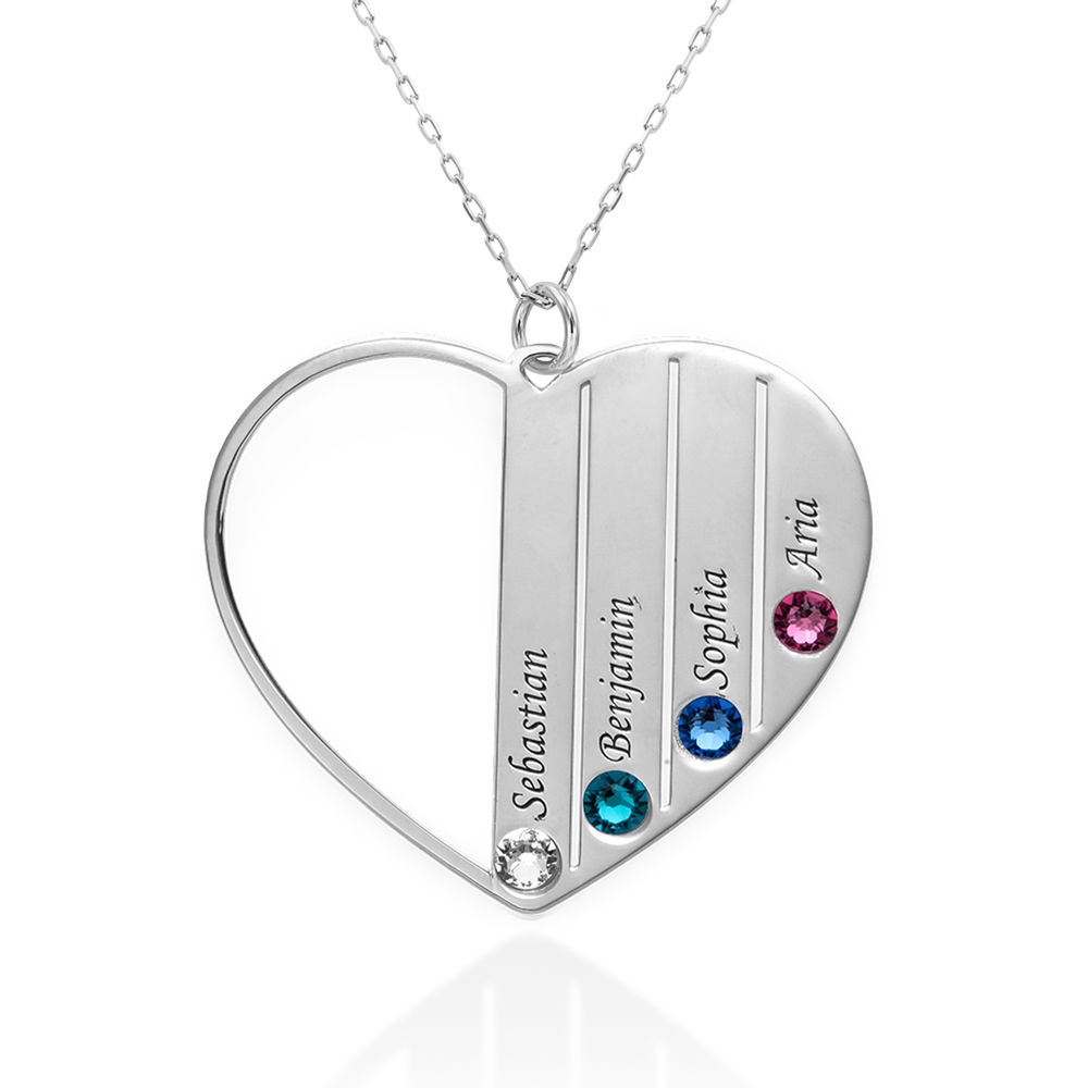 Mom Birthstone Necklace in White Gold 10K