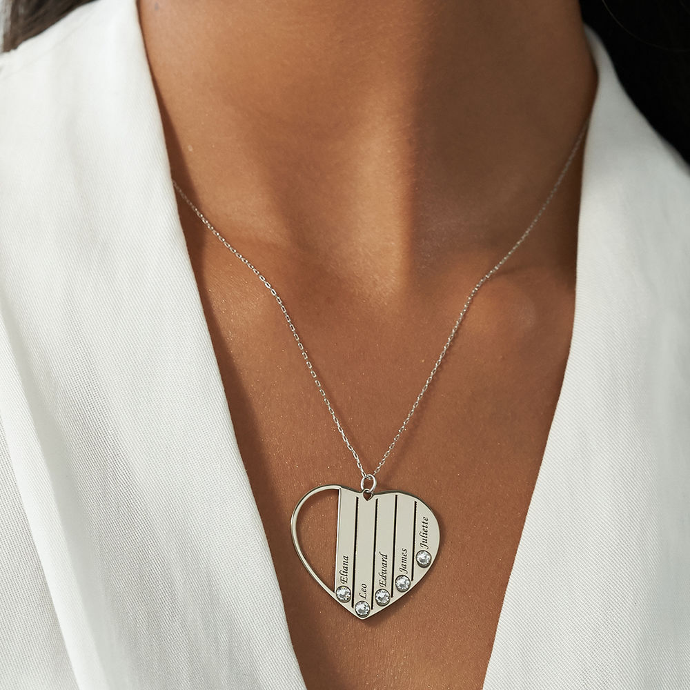 Mom Birthstone Necklace in White Gold 10K - 3