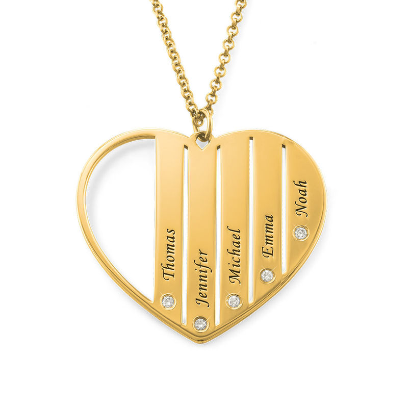 Mom Diamond Necklace in 18K Gold Vermeil - 1