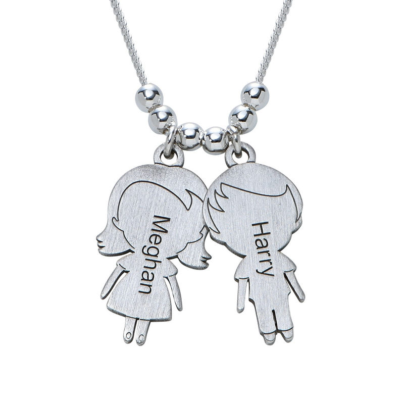 Mom Necklace with Children Charms in Sterling Silver