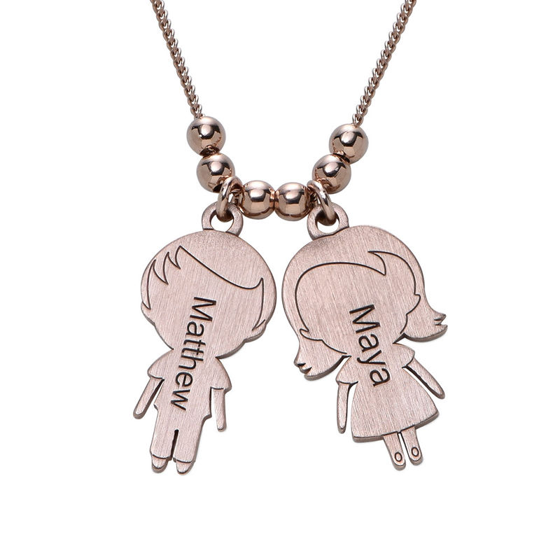 Mom Necklace with Children Charms in Rose Gold Plating