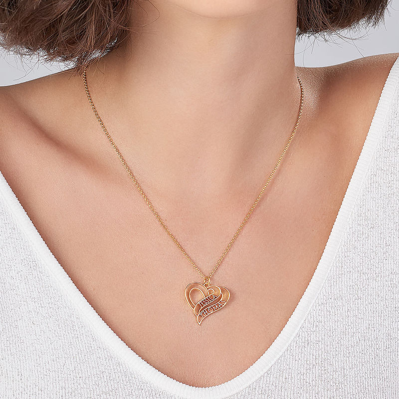 Personalized 3D Heart Necklace with 18K Gold Plating - 3