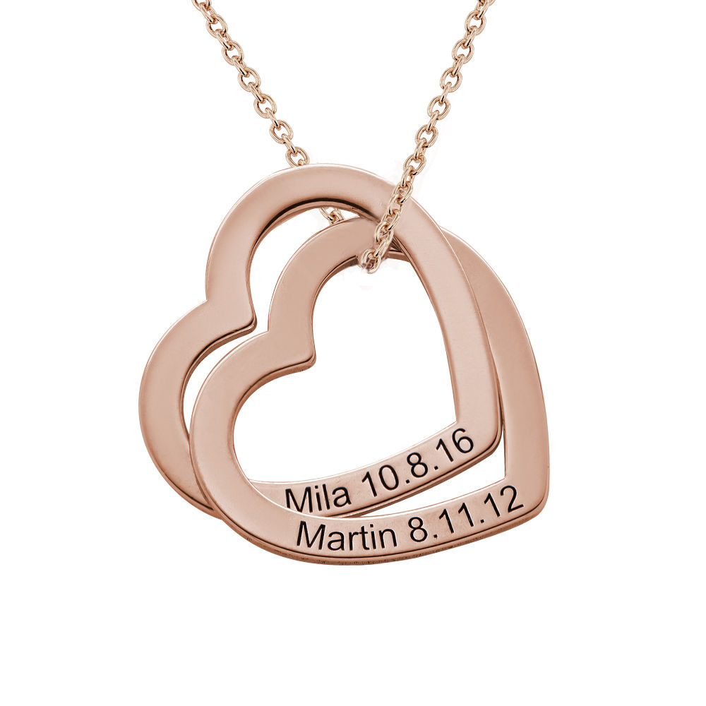 Interlocking Hearts Necklace with 18K Rose Gold Plating