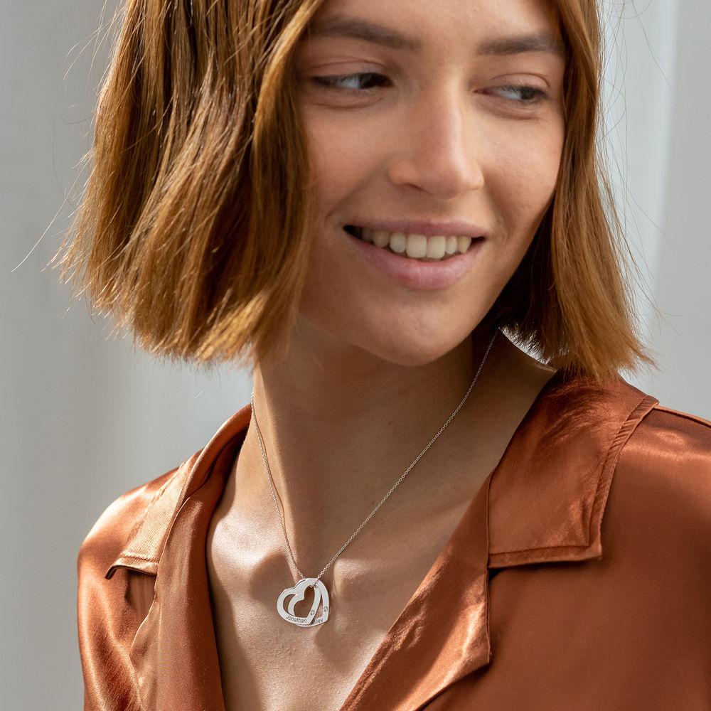 Diamond Interlocking Hearts Necklace in Sterling Silver - 1