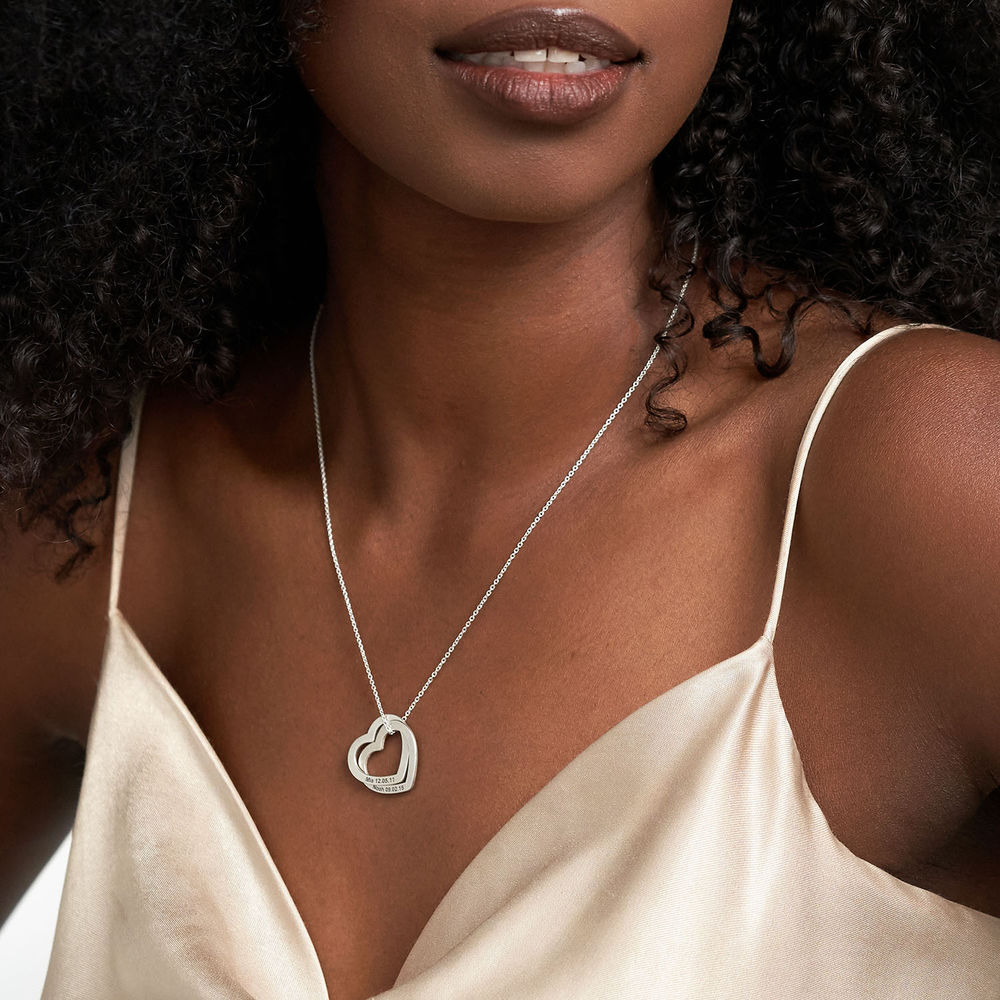 Interlocking Hearts Necklace in 940 Premium Silver - 2