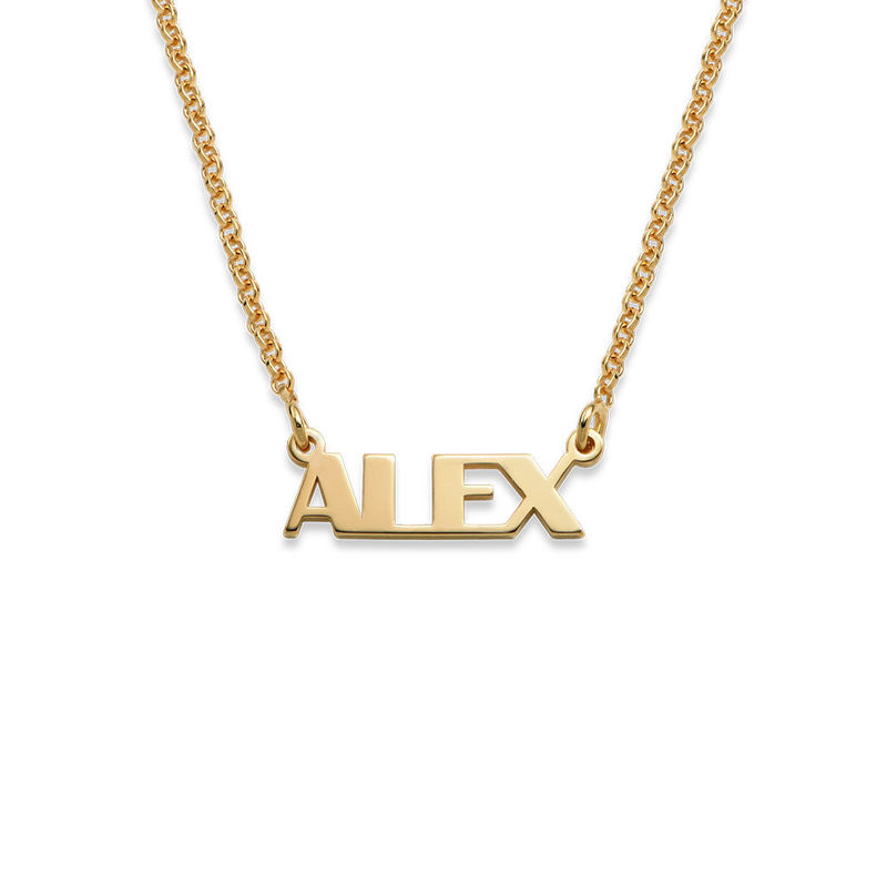 Capital Letters Name Necklace with 18K Gold Plating