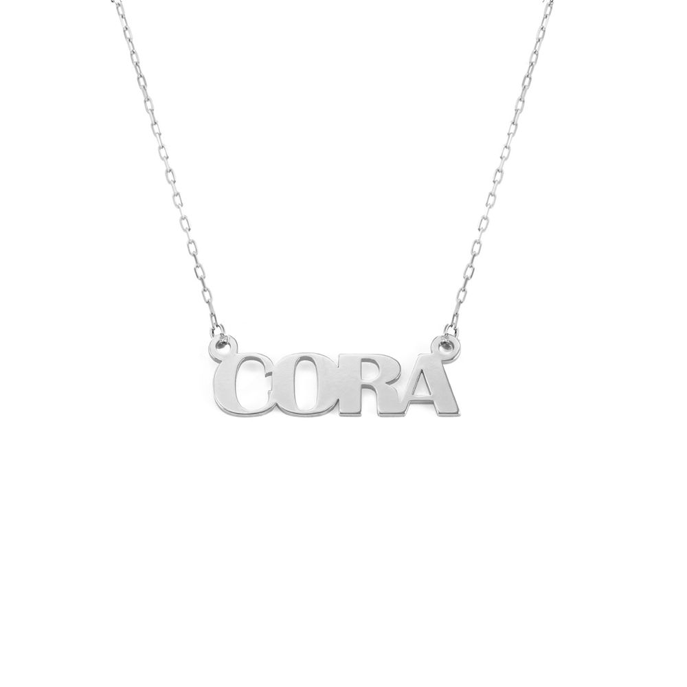 Capital Letters Name Necklace with 10K White Gold - 1