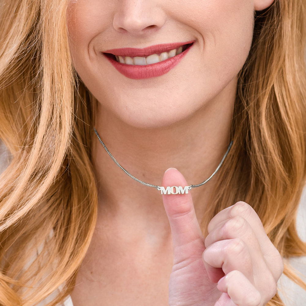 Capital Letters Name Necklace with 10K White Gold - 2