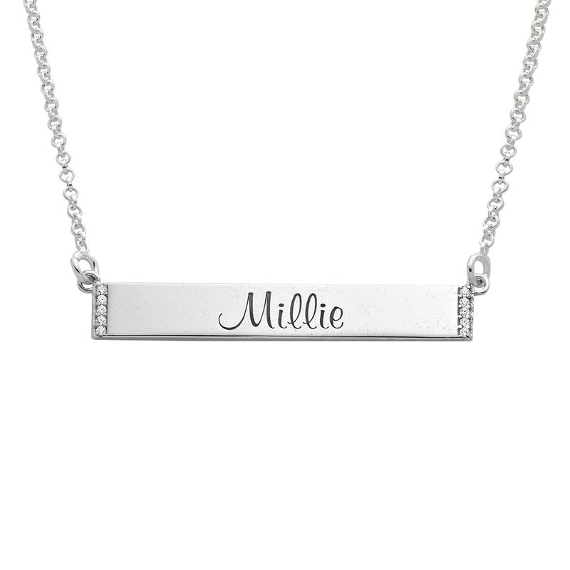 Engravable Bar Necklace with Cubic Zirconia in Sterling Silver